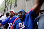 NEW YORK - APRIL 22: New York Giants fan Karim Simmions of the Bronx attends the 2010 NFL Draft at Radio City Music Hall on April 25, 2009 in New York City. (Photo by Jeff Zelevansky/Getty Images) *** Local Caption *** Karim Simmions