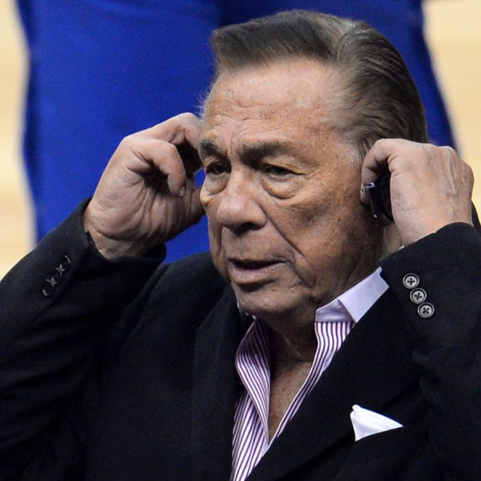 Los Angeles Clippers owner Donald Sterling attends the NBA playoff game between the Clippers and the Golden State Warriors, April 21, 2014 at Staples Center in Los Angeles, California. NBA Commissioner Adam Silver said April 26 that the NBA is investigating Sterling for alleged racist comments. AFP PHOTO / ROBYN BECK (Photo credit should read ROBYN BECK/AFP/Getty Images)