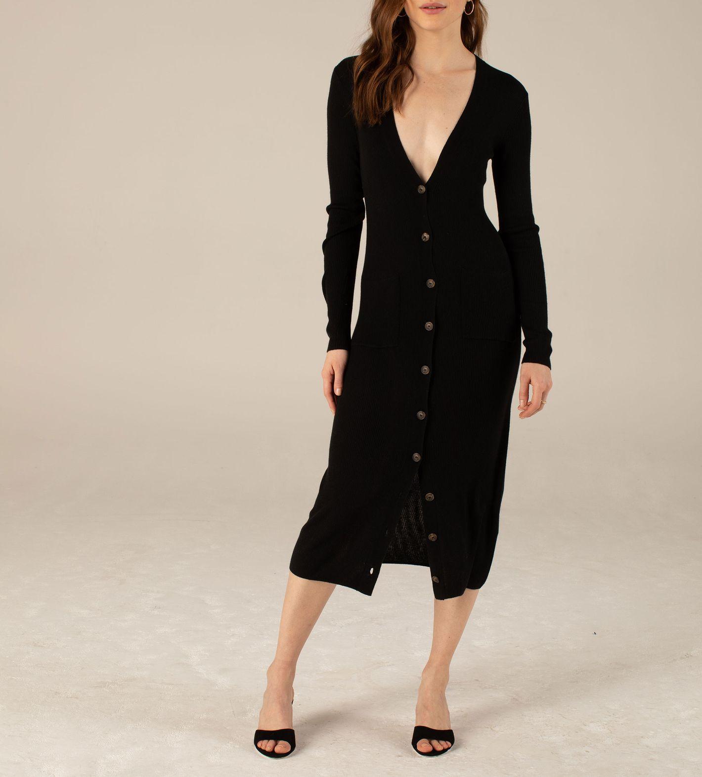 Long Sleeve Cardigan Dress in Black