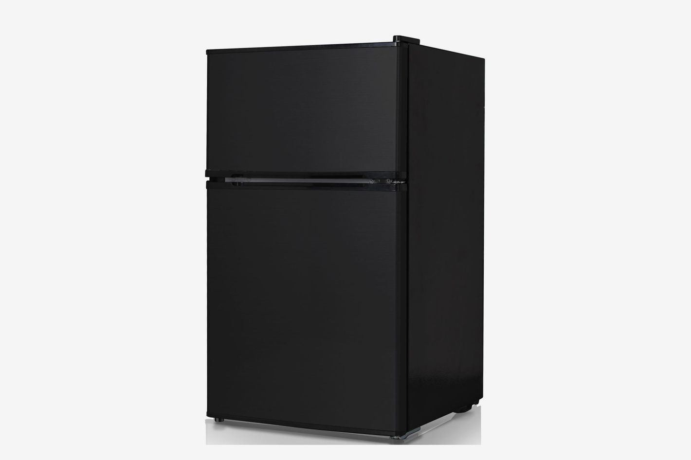 An All Black Mini Fridge With Two Doors One For Freezer