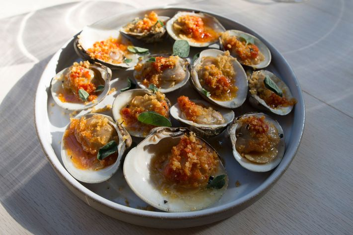 Grilled clams with Calabrian chile and breadcrumbs.