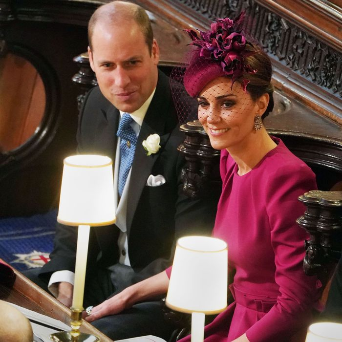 Prince William and Kate Middleton at Princess Eugenie's wedding.