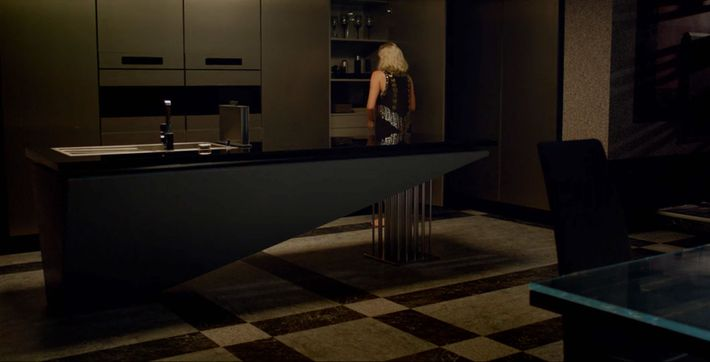 "A screenshot of the kitchen from the movie ""Tau"""