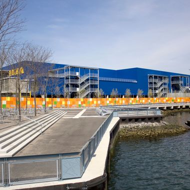 Ikea store in Red Hook Brooklyn, as seen approaching from NY Harbor on a water taxi.