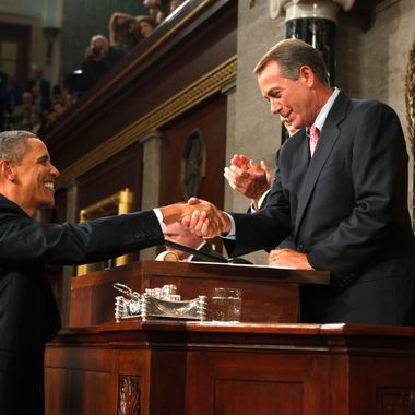 Speaker of the House John Boehner (R) shakes hands with U.S. President Barack Obama before Obama addressed a Joint Session of Congress at the U.S. Capitol September 8, 2011.