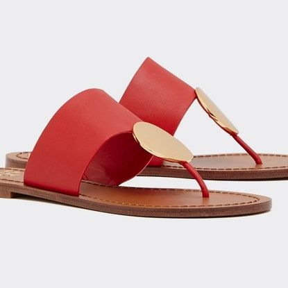 red womens tory burch patos disk sandal