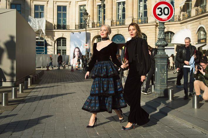 Ulyana Sergeenko, left, breezes through Paris.