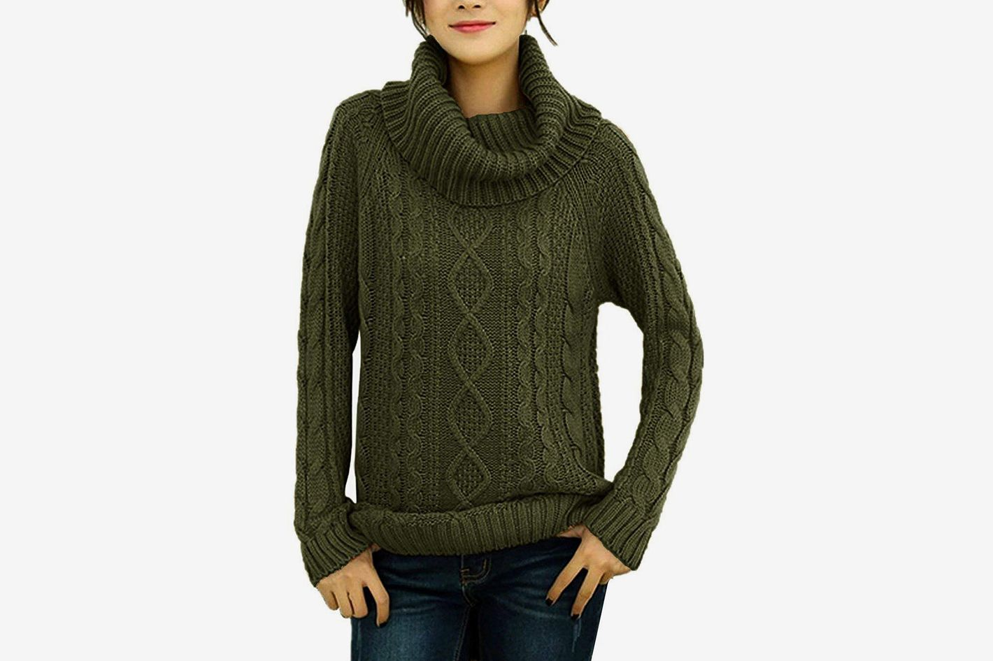 41f7666fbf6 v28 Women s Korean Design Turtle Cowl Neck Ribbed Cable Knit Long Sweater  Jumper