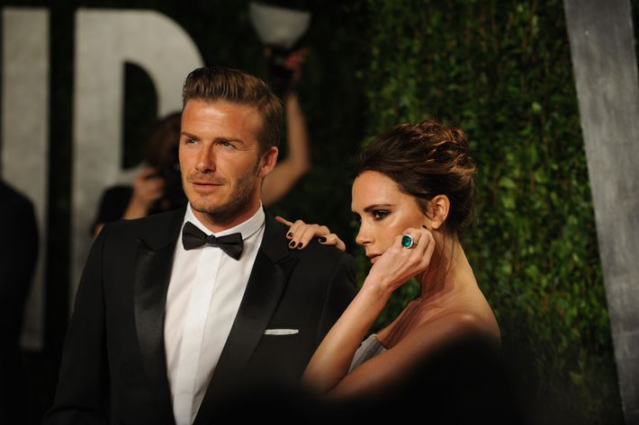 David Beckham and Victoria Beckham arrive at the 2012 Vanity Fair Oscar Party hosted by Graydon Carter at Sunset Tower on February 26, 2012 in West Hollywood, California.