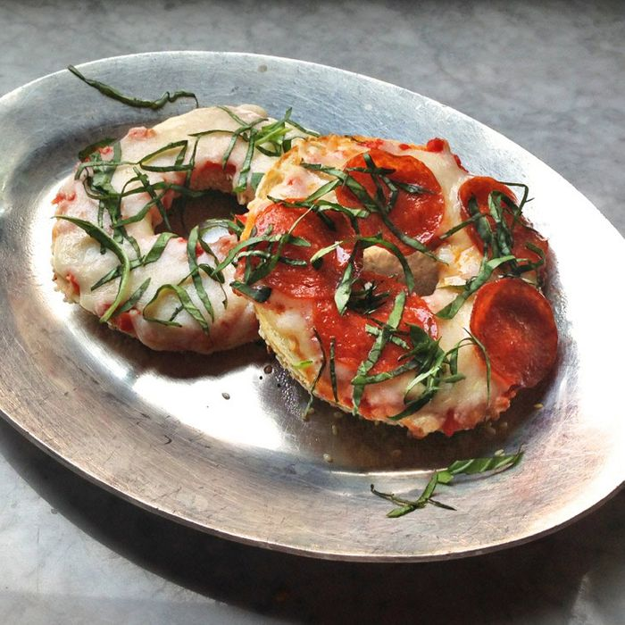 When pizza's on a bagel, you can eat pizza anytime.