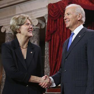 Vice President Joe Biden and Senator Elizabeth Warren