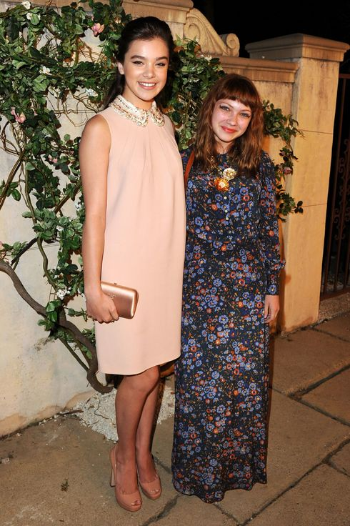 "BEVERLY HILLS, CA - JULY 19:  Actress Hailee Steinfeld and Tavi Gevinson arrive at Lucrecia Martel's ""Muta"" presented by MIU MIU at a private residence on July 19, 2011 in Beverly Hills, California.  (Photo by Jason Merritt/Getty Images for MIU MIU)"