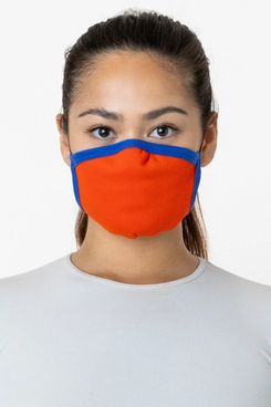 girl in black turtleneck wearing yellow and purple Los Angeles Apparel face mask
