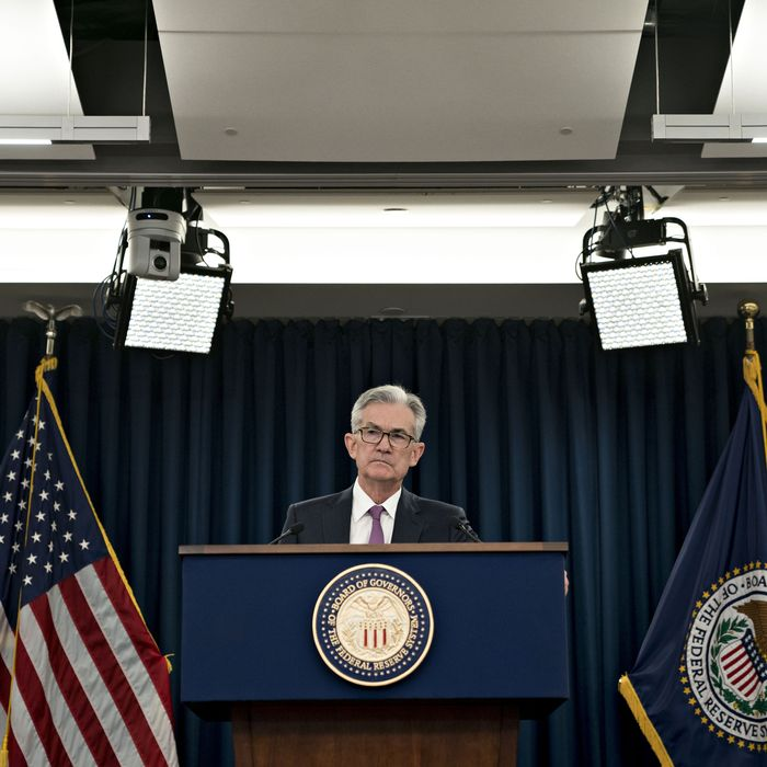 Jerome Powell, chairman of the U.S. Federal Reserve, listens to a question during a news conference following a Federal Open Market Committee (FOMC) meeting in Washington, D.C., U.S., on Wednesday, June 19, 2019. The Federal Reserve indicated a readiness to cut interest rates for the first time in more than a decade to sustain a near-record U.S. economic expansion, citing uncertainties in their outlook. Photographer: Andrew Harrer/Bloomberg via Getty Images