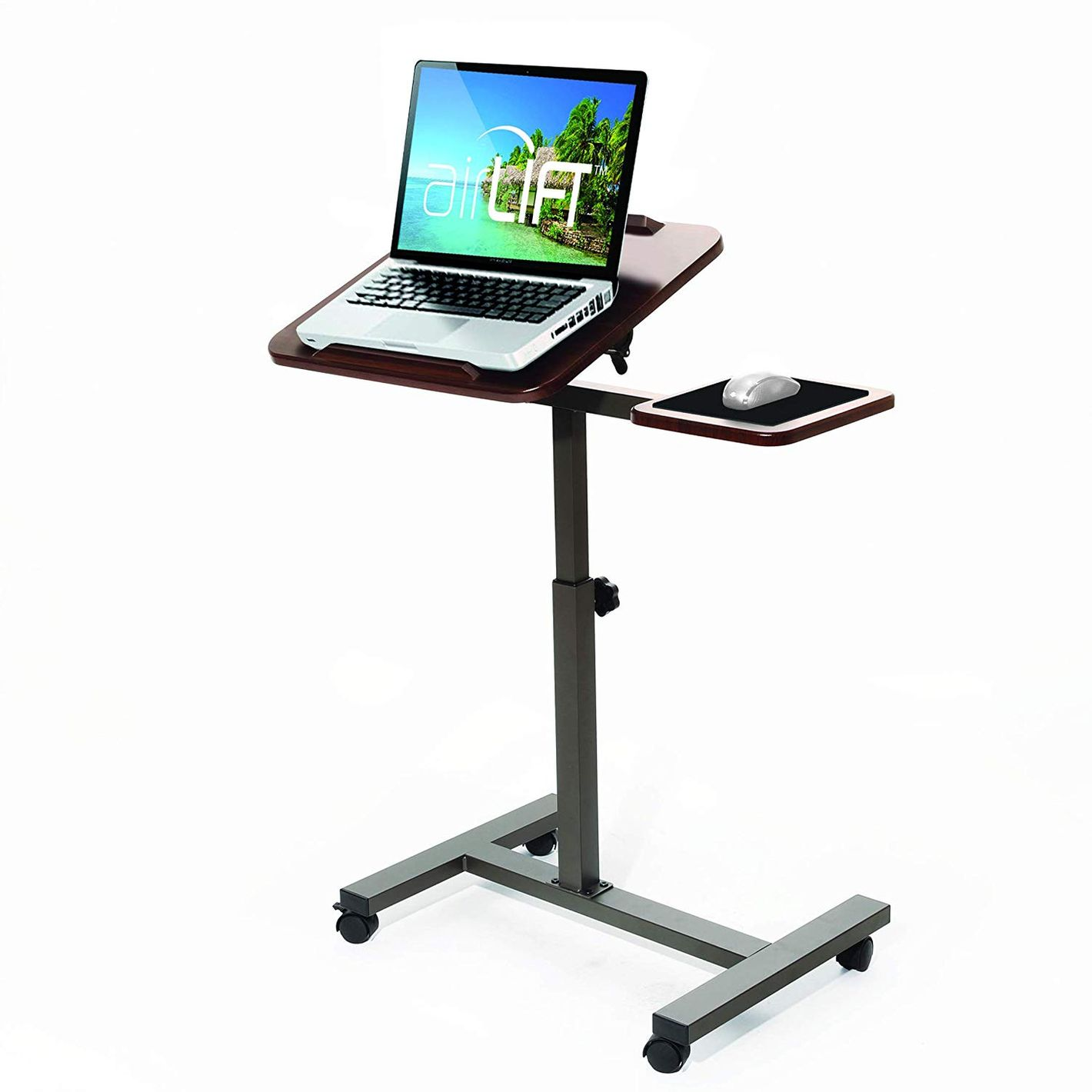 Seville Classics Tilting Sit-Stand Computer Desk Cart with Mouse Pad Table