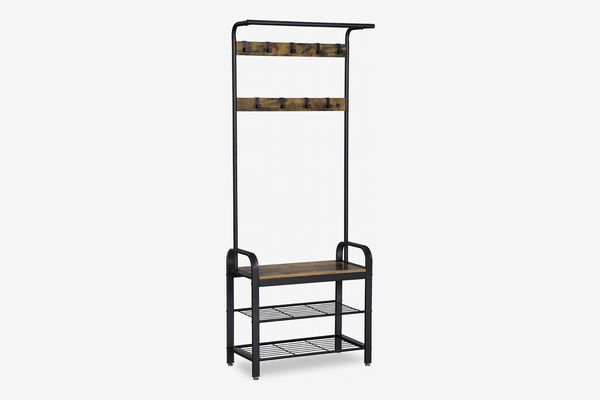 SONGMICS Vintage Coat Rack and Shoe Bench