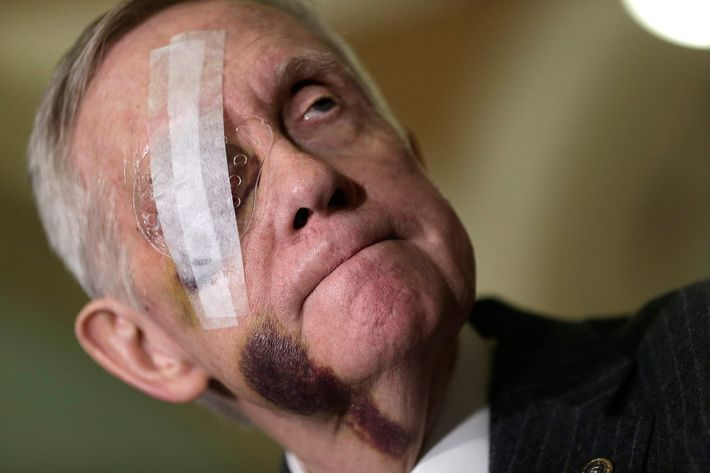 Senate Minority Leader Harry Reid (D-NV) answers questions following the weekly Democratic caucus policy luncheon at the U.S. Capitol February 10, 2015 in Washington, DC.