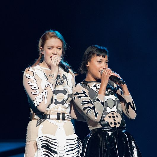 NEW ORLEANS, LA - MARCH 18:  (L-R) Caroline Hjelt and Aino Jawo of Icona Pop perform at Smoothie King Center on March 18, 2014 in New Orleans, Louisiana.  (Photo by Erika Goldring/Getty Images)