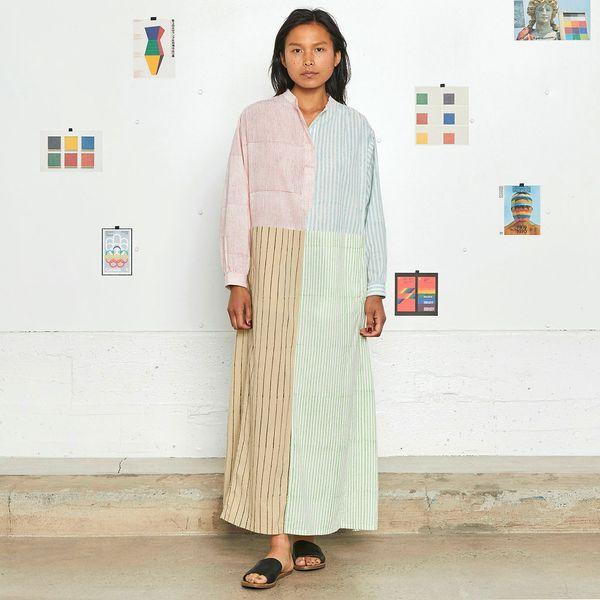 Entireworld Patchwork Block Print Dress