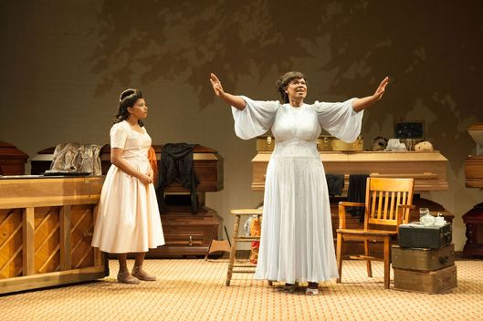 Rebecca Naomi Jones as Marie Knight and Kecia Lewis as Sister Rosetta Tharpe in Atlantic Theater Company's world premiere production of George Brant's play with music MARIE AND ROSETTA, directed by Neil Pepe,  opening September 14, 2016 at The Linda Gross Theater (336 West 20 Street). Photo: Ahron R. Foster.