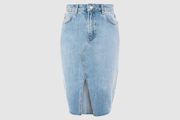 Topshop Denim Midi Skirt