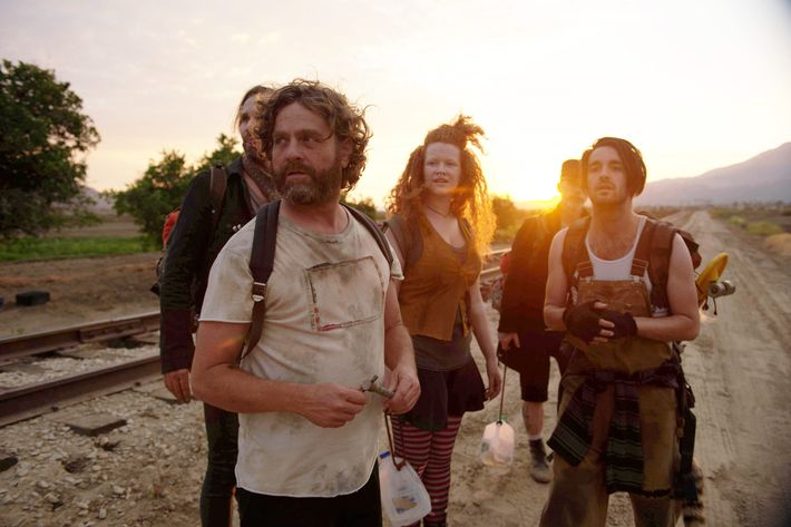 "BASKETS -- ""Freaks"" --Season 2, Episode 1 (Airs Thursday, January 19, 10:00 pm/ep) -- Pictured: (l-r) Tobias Jelinek as Morpheus,   Zach Galifianakis as Chip Baskets, Mary Wiseman as Trinity, Christopher Wonder as Tank, Brett Loudermilk as Mouse. CR: Colleen Hayes, FX"