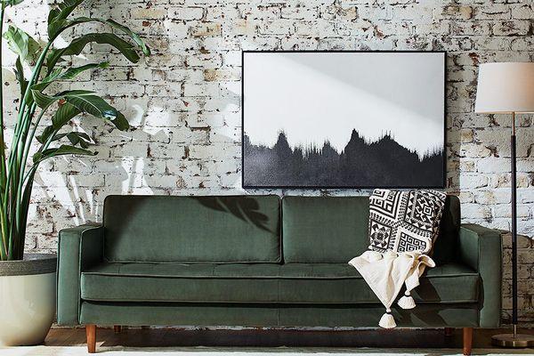 Rivet Aiden Tufted Mid-Century Velvet Bench Seat Sofa