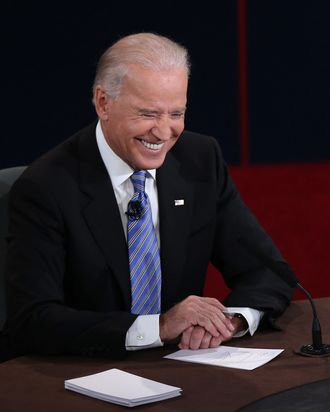 U.S. Vice President Joe Biden smiles during the vice presidential debate at Centre College October 11, 2012 in Danville, Kentucky. This is the second of four debates during the presidential election season and the only debate between the vice presidential candidates before the closely-contested election November 6.