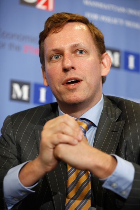 "PayPal co-founder and former CEO Peter Thiel speaks about his National Review article, ""The End of the Future,"" during a discussion sponsored by e21, a conservative think tank, and the Manhattan Institute at the National Press Club October 3, 2011 in Washington, DC."