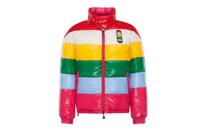 Striped puffer jacket, $1,515, Moncler boutiques