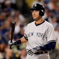 Derek Jeter #2 of the New York Yankees reacts during his at bat in the sixth inning against the Los Angeles Dodgers at Dodger Stadium on July 30, 2013 in Los Angeles, California.