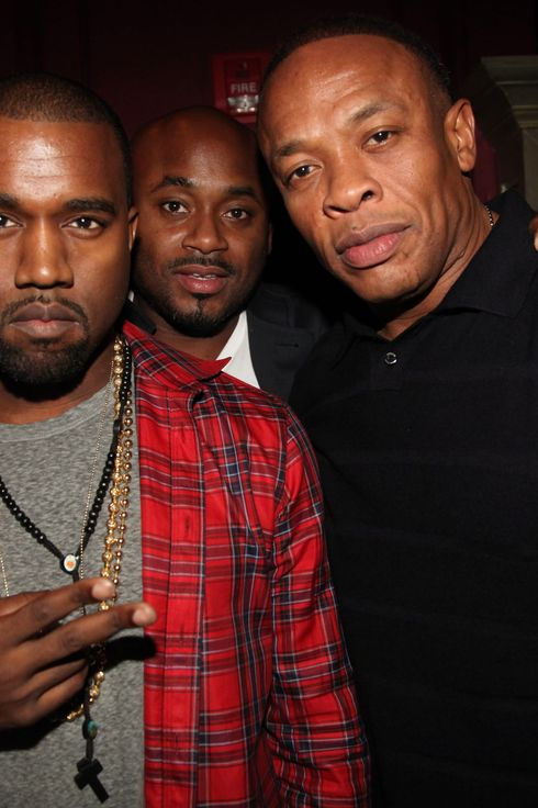 "NEW YORK, NY - OCTOBER 09:  (L-R) Kanye West, Steve Stoute and Dr. Dre attend the ""CULO by Mazzucco"" book and art exhibition launch after party  at The Darby Restaurant on October 9, 2011 in New York City.  (Photo by Johnny Nunez/Getty Images)"