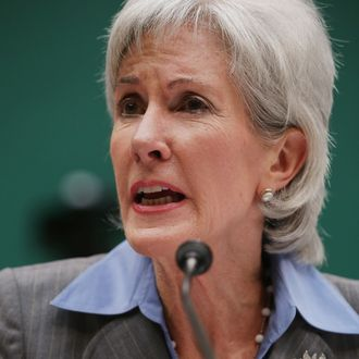 WASHINGTON, DC - OCTOBER 30: Health and Human Services Secretary Kathleen Sebelius testifies before the House Energy and Commerce Committee about the troubled launch of the Healthcare.gov website October 30, 2013 in Washington, DC. The federal healthcare insurance exchange site has been plagued by problems since its launch on October 1. (Photo by Chip Somodevilla/Getty Images)