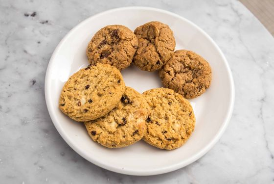 The new cookies: Rah-Rah Raisins in front, and Trios in back.