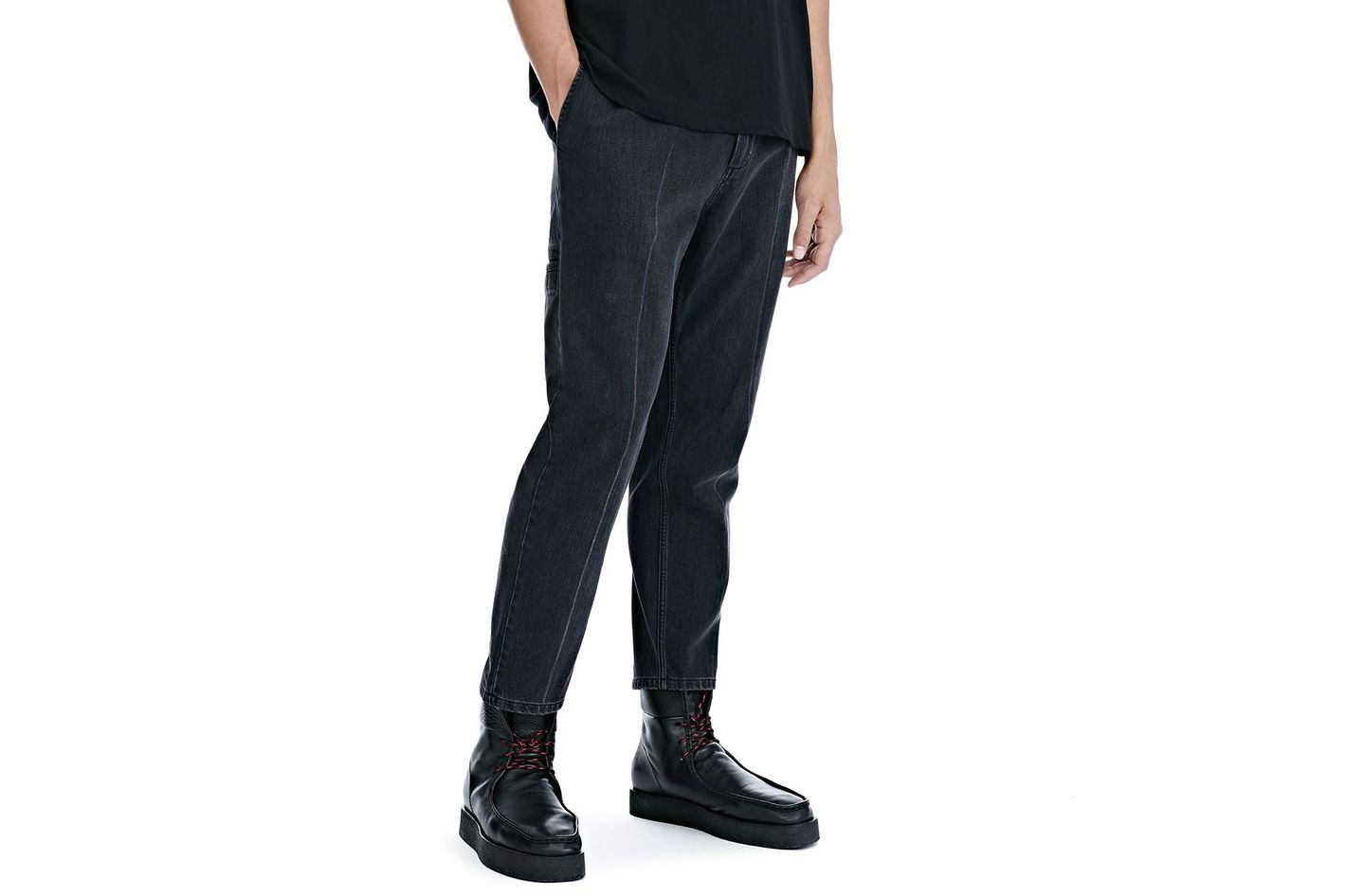 Black Denim Creased Crop Trousers