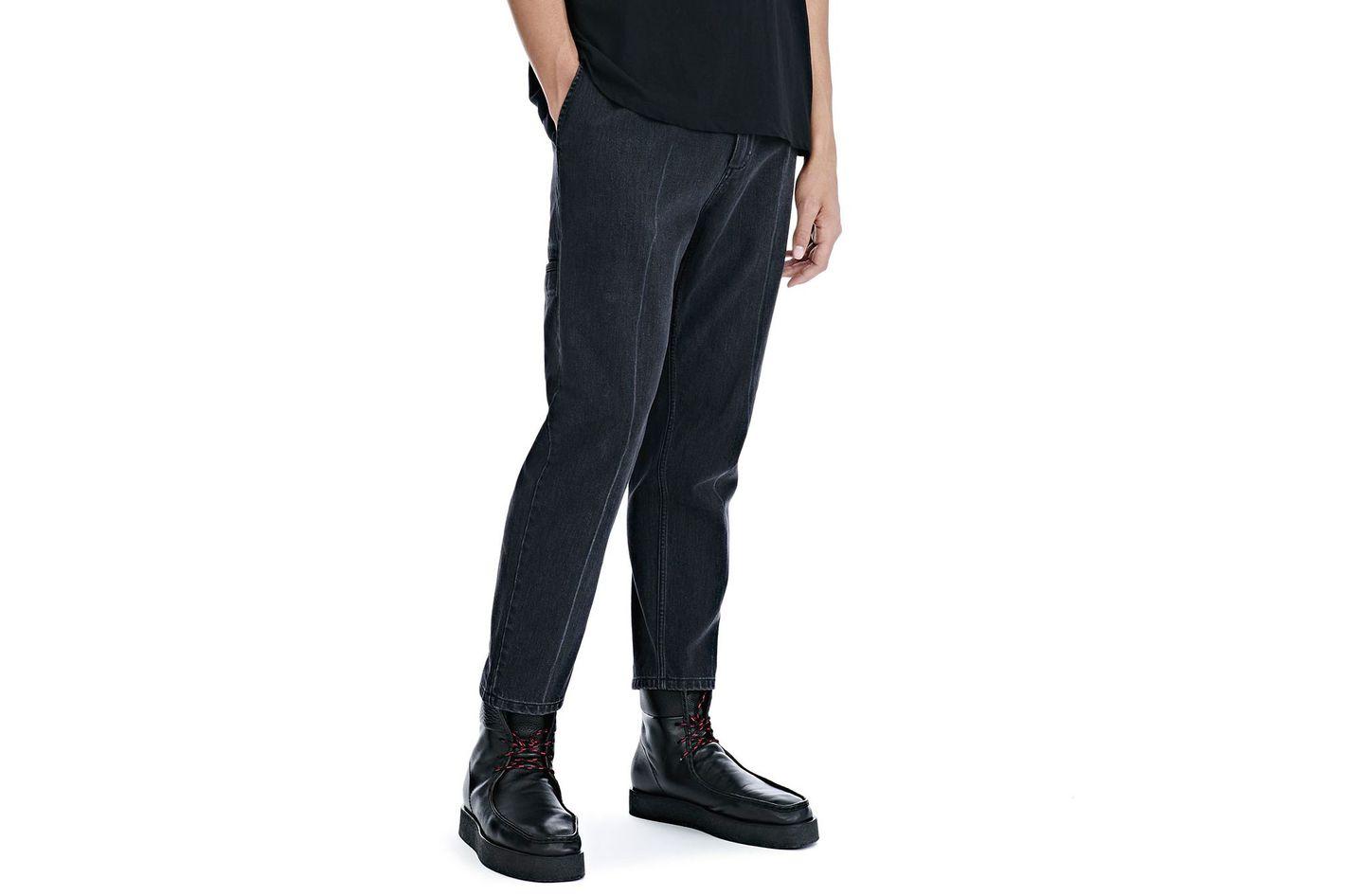 Black Denim Creased Crop Trousers