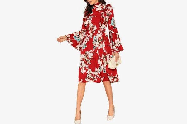 Floerns Women's Floral Print Long Sleeve Midi Dress