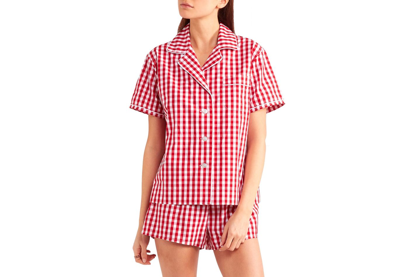 Sleepy Jones Gingham Cotton Pajama Set
