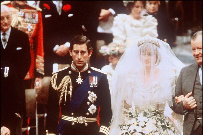 Prince Charles and Princess Diana at their wedding.