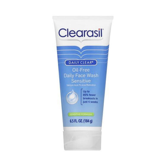 "Contains 2 percent salicylic acid to help prevent acne.  <i>Clearasil Oil Free Daily Face Wash Sensitive Formula, <a href=""http://www.drugstore.com/clearasil-daily-clear-oil-free-daily-face-wash-sensitive-formula/qxp77765"">$5.39</a></i>"