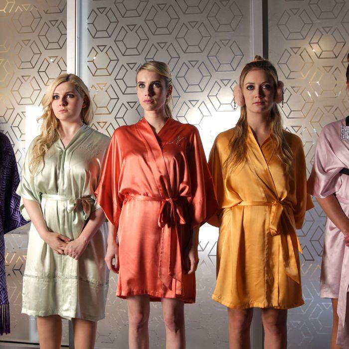 SCREAM QUEENS: L-R: Keke Palmer, Abigail Breslin, Emma Roberts, Billie Lourd and Lea Michele in the