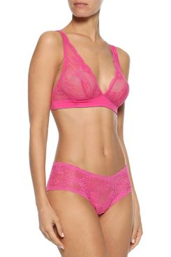 Cosabella Trenta Jersey-Trimmed Lace Soft-Cup Triangle Bra