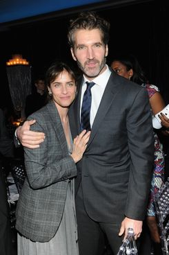 """Amanda Peet and executive producer David Benioff  attend """"Game Of Thrones"""" Season 4 New York Premiere After Party at Avery Fisher Hall, Lincoln Center on March 18, 2014 in New York City.  (Photo by Jamie McCarthy/Getty Images)"""