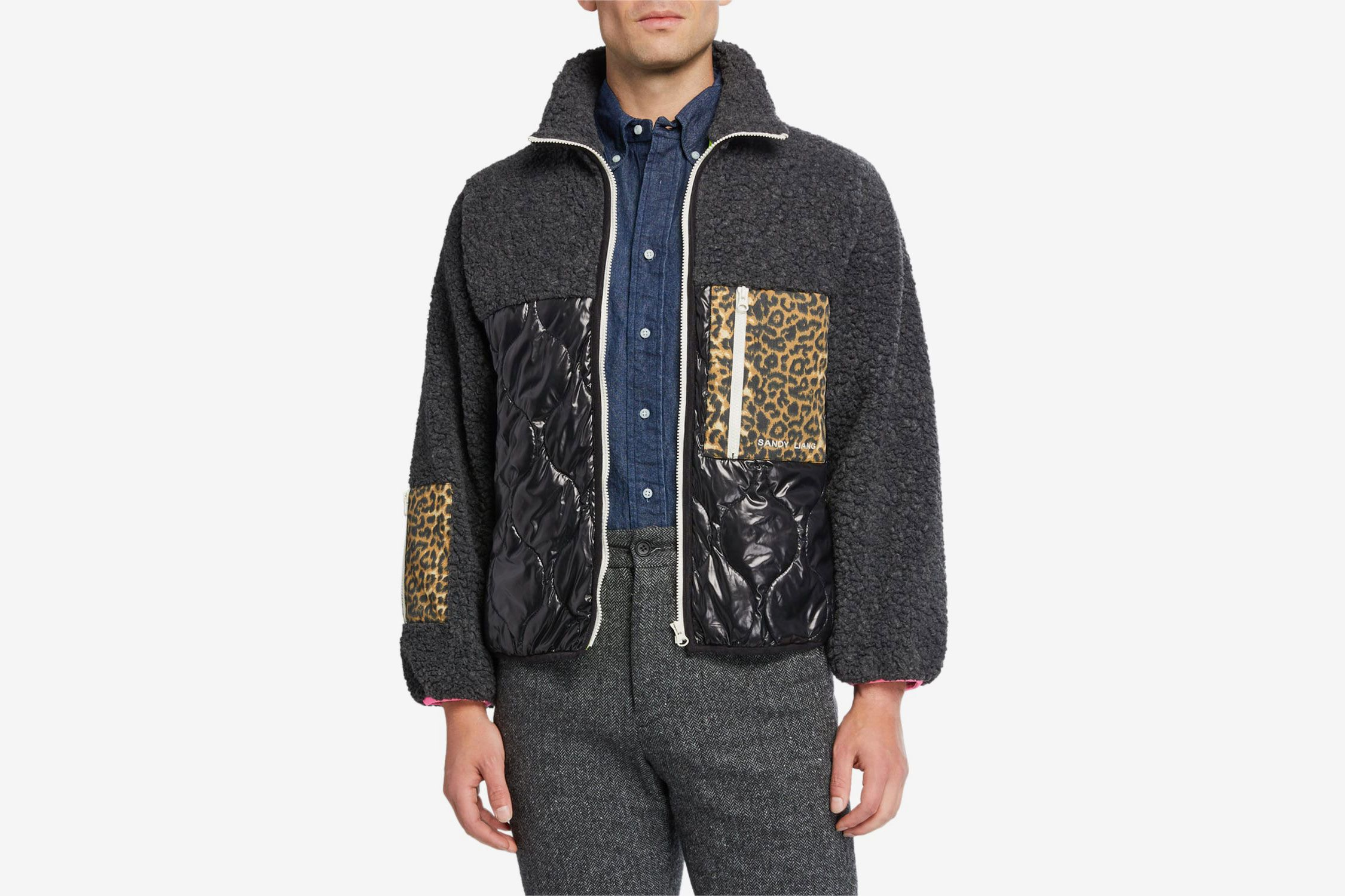 Sandy Liang Milo Fleece Mixed-Media Zip-Front Jacket