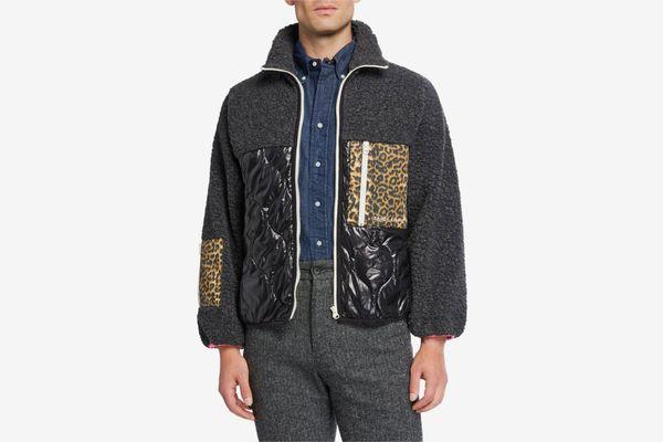 Sandy Liang Milo Fleece Mixed-Media Zip-Front Jacket