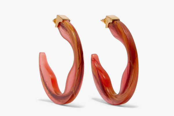 Ejing Zhan Scilla resin and gold-plated hoop earrings