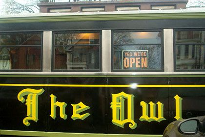 <b>The Destination:</b> The Owl Diner in Lowell  <b>How to Get There: </b>Lowell is a half-hour north of Boston via Route 3.  <b>When to Go:</b> Weekend mornings before 10 a.m.     This jammed diner car on a weedy Lowell street serves hulking omelettes named after city avenues, fat French toast swimming in whipped cream, and homefries laden with electric orange cheese sauce. Waitresses steamroll the crowds like ships, stacks of plates aloft, while owner Tom Shanahan swaps gossip with regulars. Cash only.    <i>Owl Diner, 244 Appleton St., Lowell, MA; 978-453-8321</i>