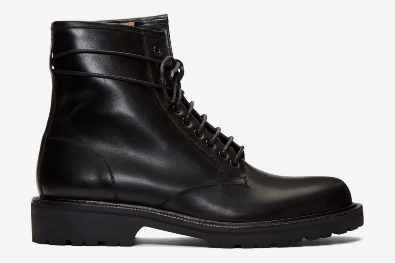 Dries Van Noten Black Lace-Up Combat Boots