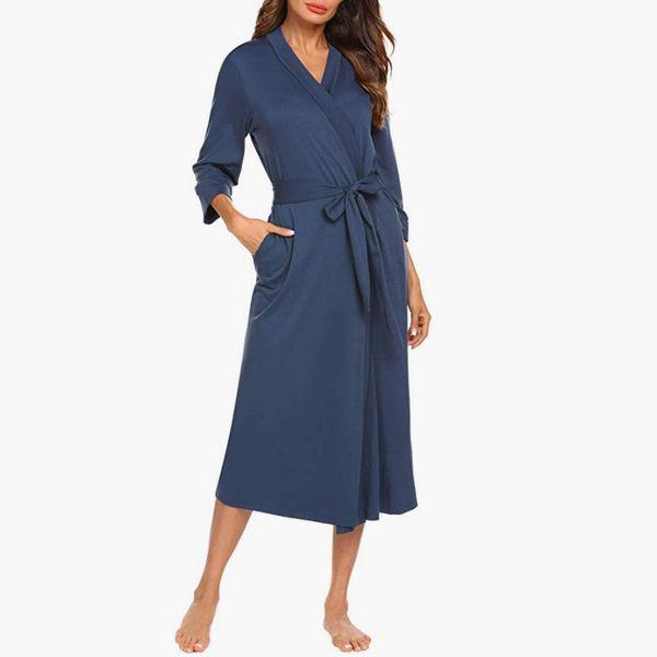 MAXMODA Women Kimono Robes Cotton Lightweight Long Robe Knit Bathrobe