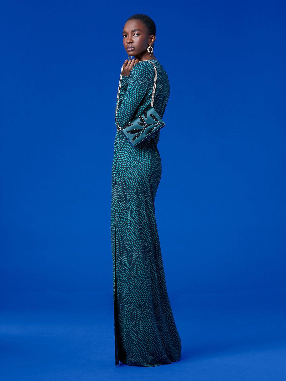 Julian Long Banded Wrap Dress, Easton Dot Jade